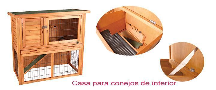 Casa para conejos interior Trixie, techo abatible, cerradura de seguridad y fabricada en madera