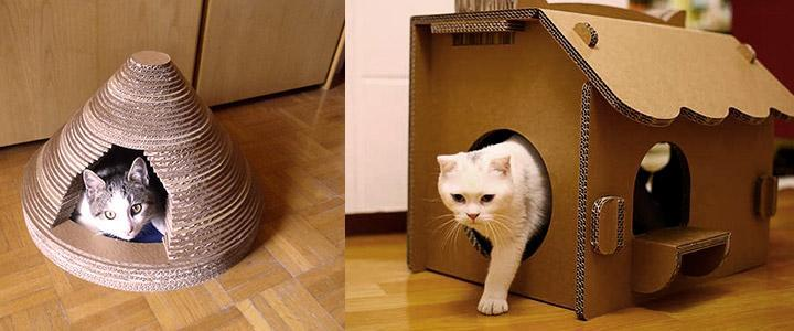 Casa para gatos hecha de cartón corrugado, ¿dónde se pone?