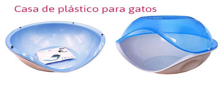 Casa para gatos de plástico azul