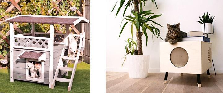 Dónde poner una casa de madera para gatos ¿Exterior o interior?