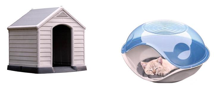 Caseta de plástico para uno o varios gatos, de exterior e interior
