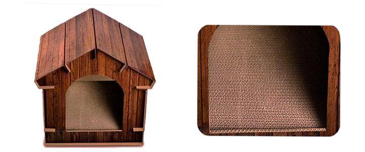 Casita de cartón para gatos imitación madera